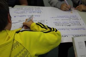 Gruppenarbeit an Plakaten braucht inklusive Präsentation meistens mehr als 45 Minuten Unterrichtszeit.