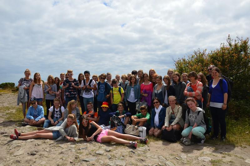 Unsere Austausch-Schüler am Strand.