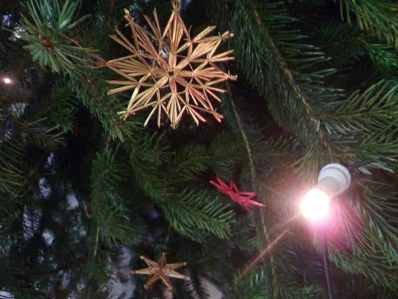 naufdringlicher Strohschmuck macht unseren Weihnachtsbaum zu einer großen Bereicherung.