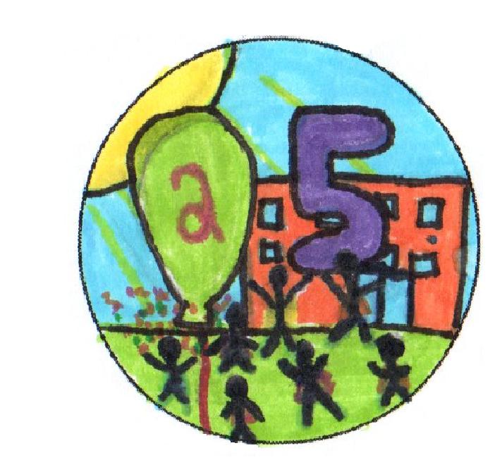 So sehen die Buttons aus, die die 7c für die Schatzsuche anlässlich des 25-jährigen Schuljubiläums im September gestaltet hat.